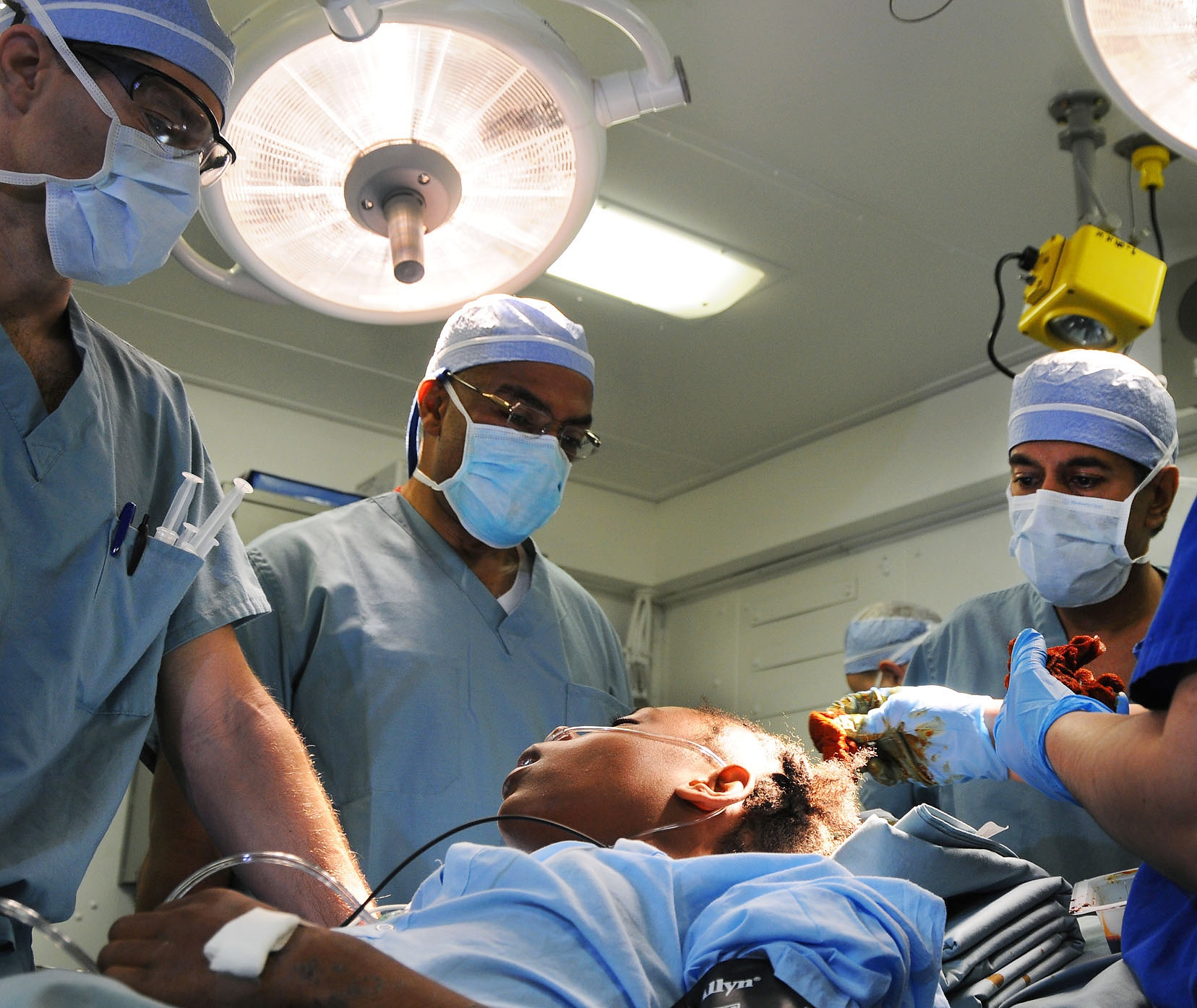 Brain operation to young african-american girl
